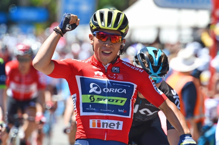 Caleb-Ewan-red-jersey-Orica-Scott-sprint-Tour-Down-Under-2017-pic-Sirotti