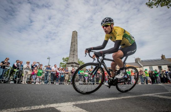 Yellow Jersey holder and An Post Ras winner James Gullen of JLT Condor in Skerries 28/5/2017