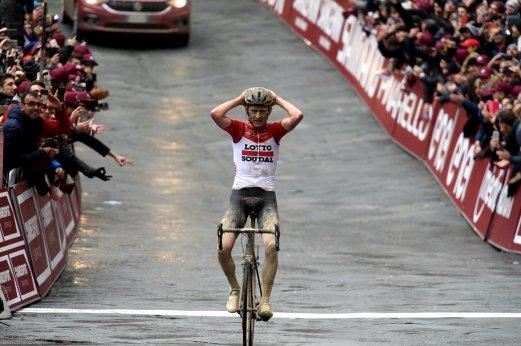 03-03-2018 Strade Bianche; 2018, Lotto - Soudal; Benoot, Tiesj; Siena;